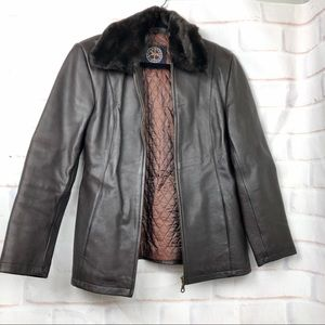 Harold's Brown leather faux fur bomber jacket